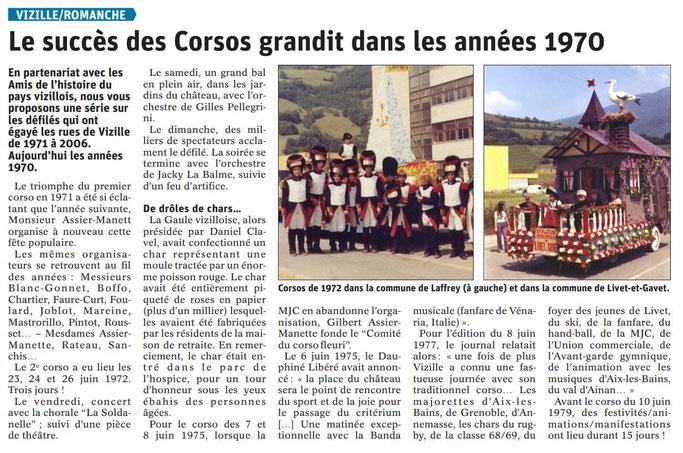Dauphiné Libéré, Romanche & Oisans, Vizille édition du 06 août 2019, article Claudie Picot Chambe