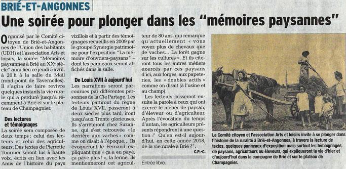 Dauphiné Libéré, Romanche & Oisans, Brié et Angonnes, édition du 04 avil 2018. Article Claudie Picot Chambe