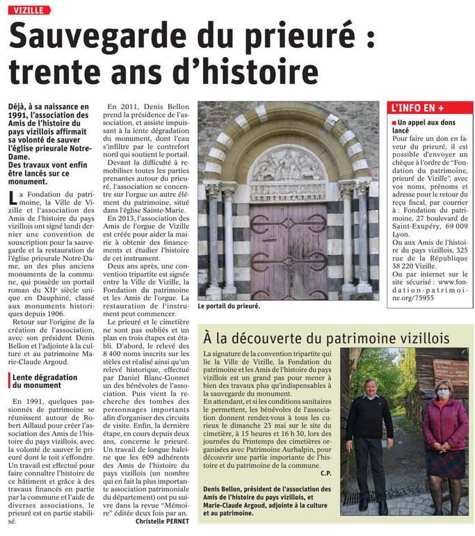 Dauphiné Libéré, Romanche Oisans, Vizille, édition du 25 avril 2021, article et photo Chrystel Pernet