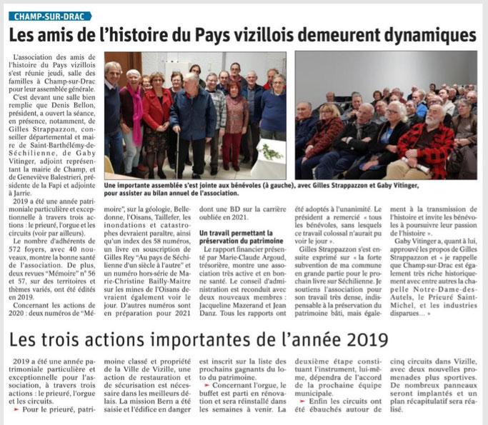 Dauphiné Libéré, Romanche&Oisans, Champ-sur-Drac, édition du 16 février 2020