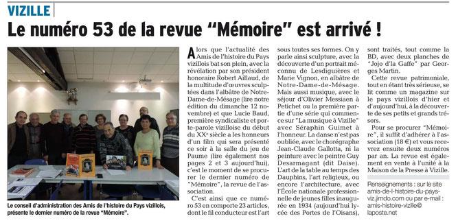 Dauphiné Libéré, Romanche & Oisans, Vizille édition du 21 novembre 2017.