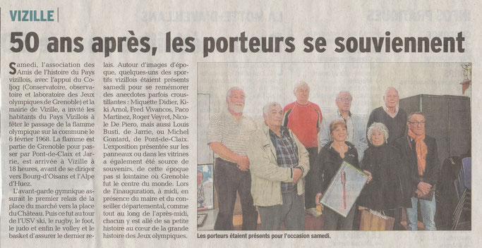 Dauphiné Libéré, Romanche & Oisans, Vizille édition du 10 avril 2018.