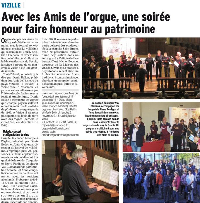 Dauphiné Libéré, Romanche & Oisans, Vizille édition du 14 octobre 2017.