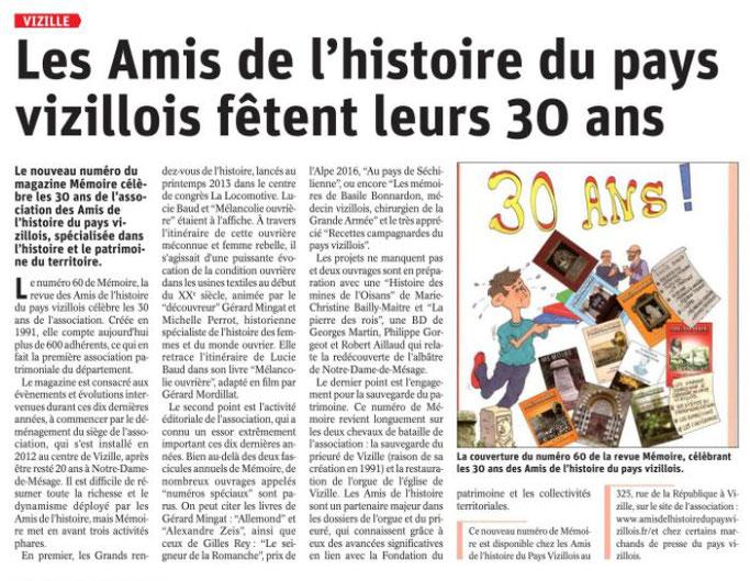 Dauphiné Libéré, Romanche Oisans, Vizille, édition du 18 août 2021