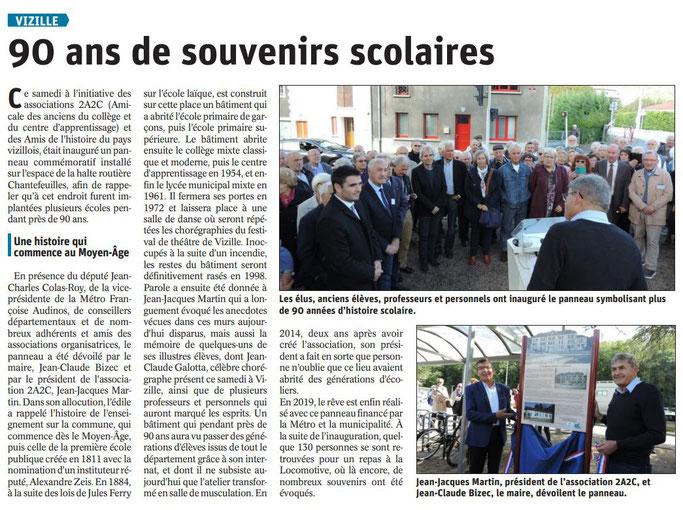 Dauphiné Libéré, Romanche & Oisans, Vizille édition du 09 octobre 2019.