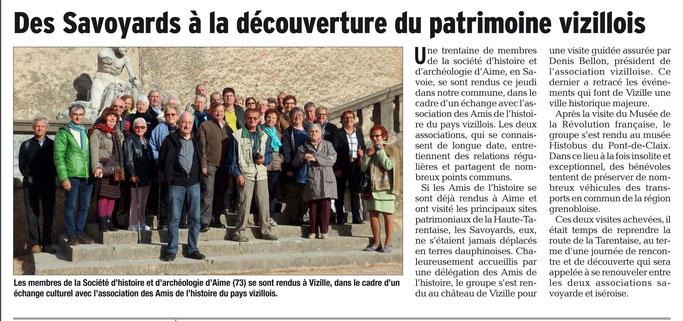 Dauphiné Libéré, Romanche & Oisans, Vizille édition du 22 octobre 2017.