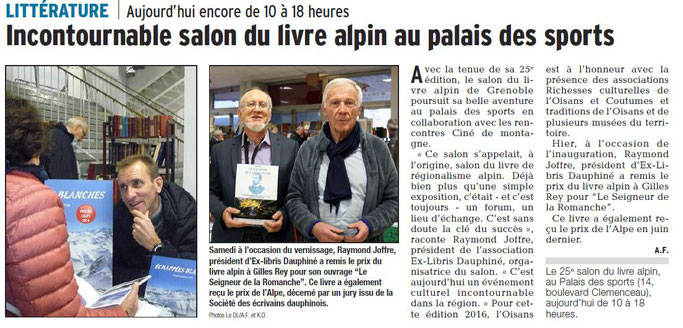 Dauphiné Libéré, édition du 20 novembre 2016 - Photo et article A.F.