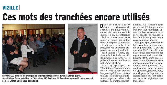 Dauphiné Libéré, Romanche & Oisans, Vizille édition du 18 mai 2018.
