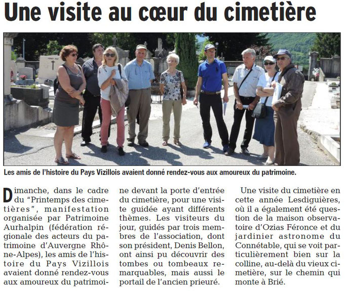 Dauphiné Libéré, Romanche & Oisans, Vizille édition du 24 mai 2017