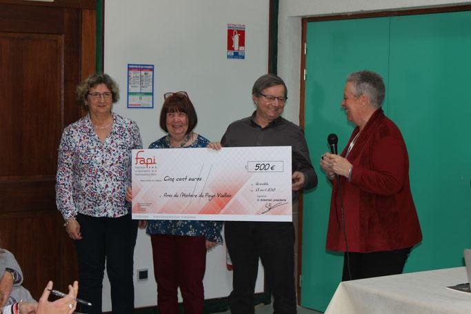 De gauche à droite Marie Claude Argoud, Jeannette Della-Védova, Denis Bellon, Geneviève Balestrieri présidente de la FAPI
