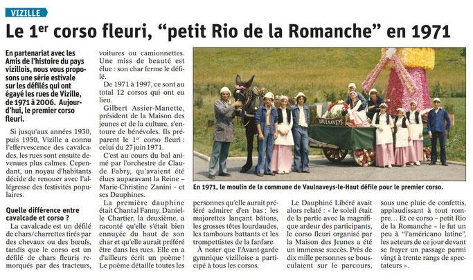 Dauphiné Libéré, Romanche & Oisans, Vizille édition du 05 août 2019. Article Claudie Picot Chambe