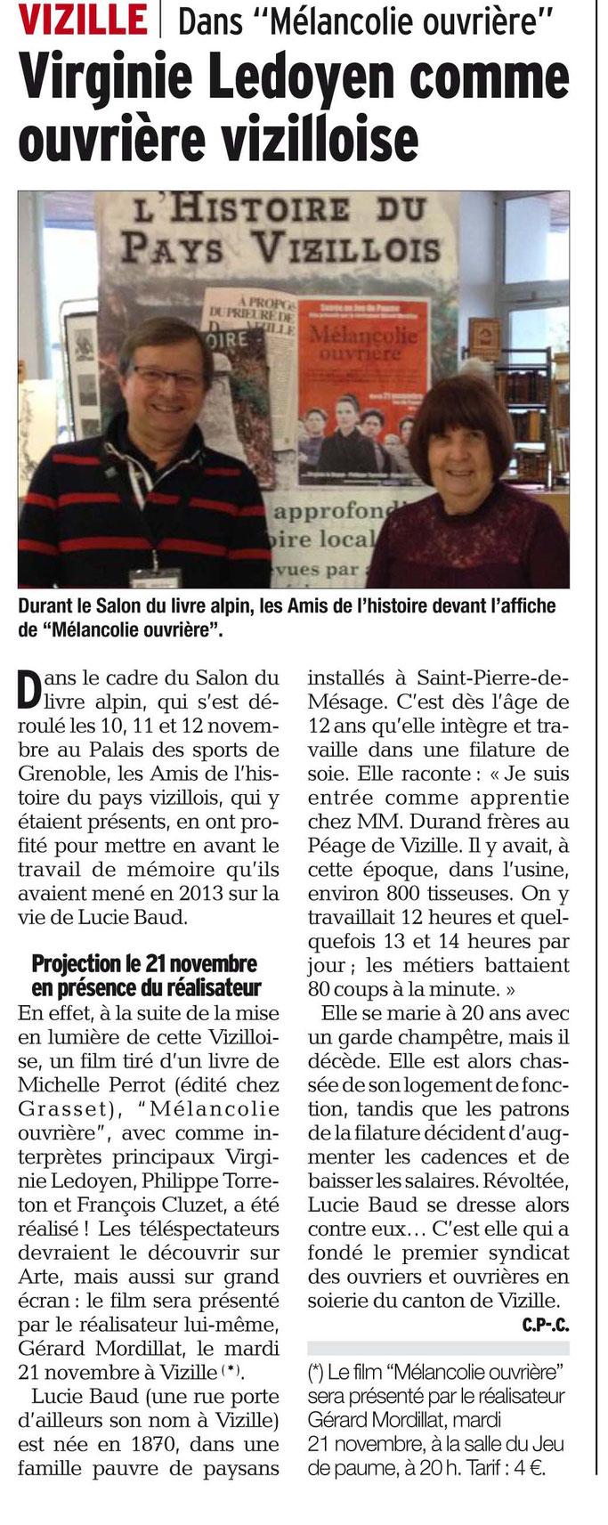 Dauphiné Libéré, Grenoble et sa région, édition du 14 novembre 2017, Article et Photo Claudie Picot Chambe