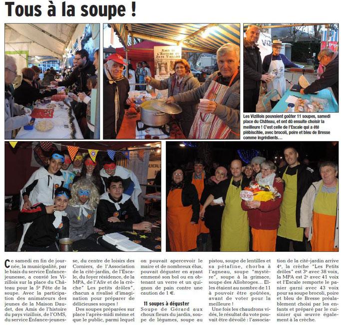 Dauphiné Libéré, Isère Sud, Vizille édition du 30 novembre 2016.