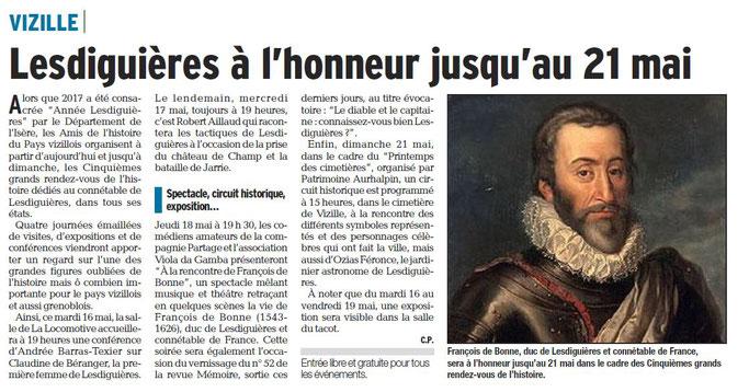Dauphiné Libéré, Romanche & Oisans, Vizille, édition du 16 mai 2017, article et photo Chrystelle Pernet