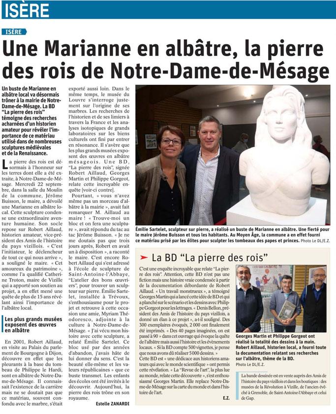 Dauphiné Libéré, Romanche Oisans, Vizille, édition du 24 septembre 2021, article et photo Estelle Zanardi