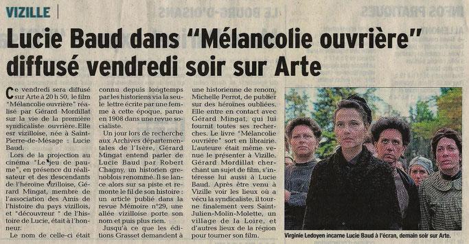 Dauphiné Libéré, Romanche & Oisans, Vizille édition du 23 août 2018.