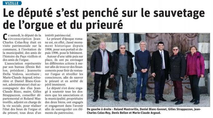 Dauphiné Libéré, Romanche&Oisans, Vizille édition du 18 février, article et photo Chrystel Pernet