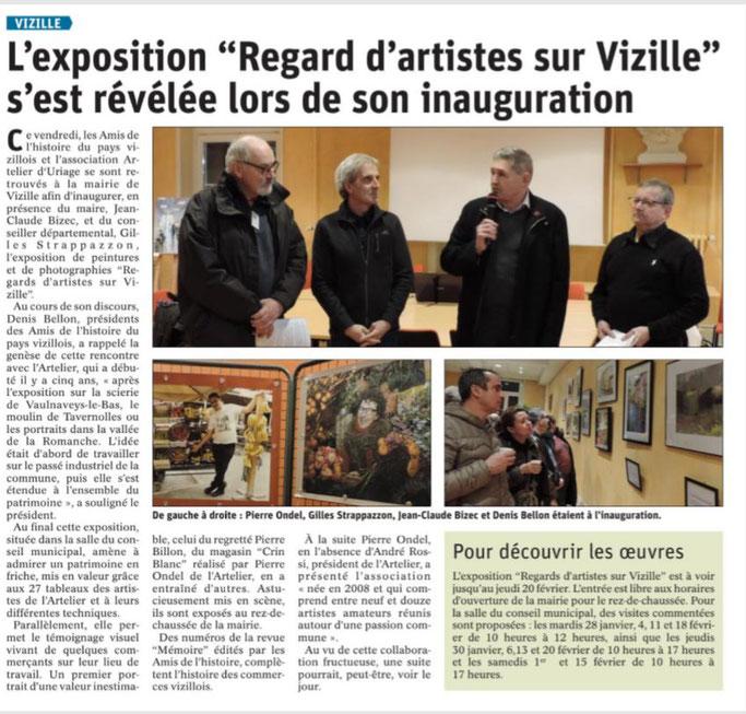 Dauphiné Libéré, Romanche&Oisans, Vizille édition du 5 février 2020, Article et photo Chrystel Pernet