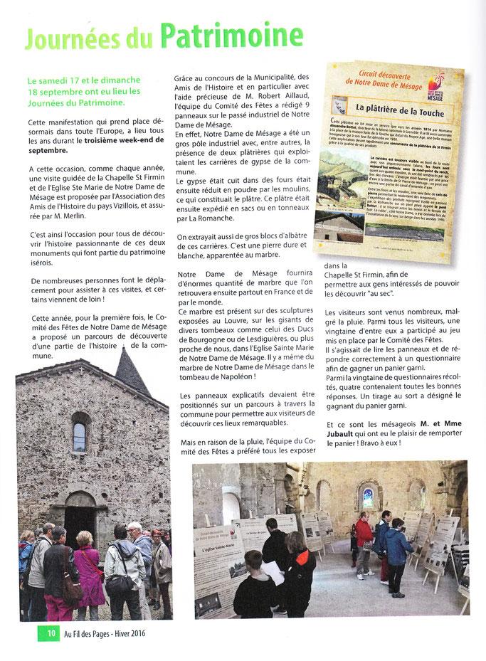 Bulletin d'information de Notre Dame de Mésage - hiver 2016 - Au Fil des Pages