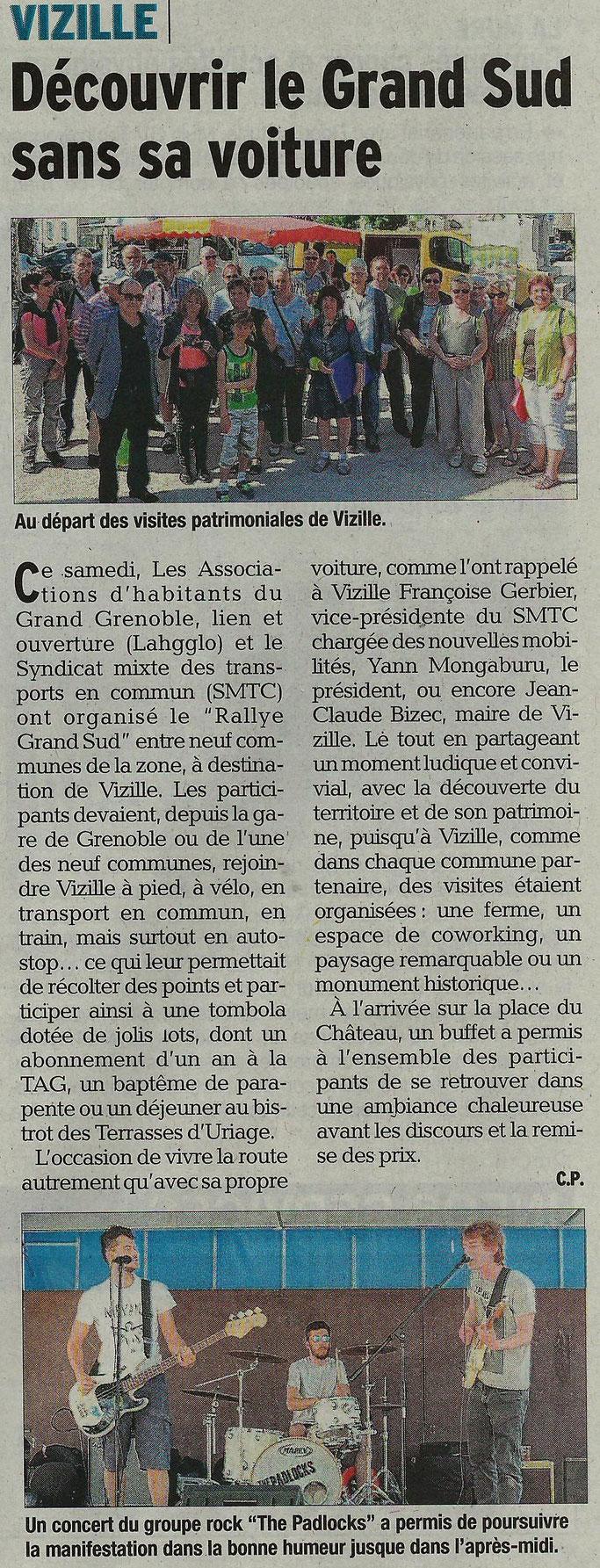 Dauphiné Libéré, Romanche & Oisans, Vizille édition du 23 avril 2018, article et photo Chrystelle Pernet