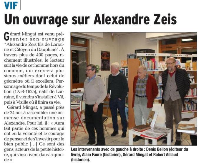 Dauphiné Libéré, Romanche & Oisans, Vif édition du 20 décembre 2018.