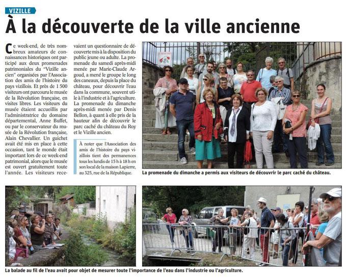 Dauphiné Libéré, Romanche & Oisans, Vizille, édition du 25 septembre 2019.