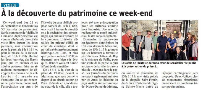 Dauphiné Libéré, Romanche & Oisans, Vizille édition du 20 septembre 2019.