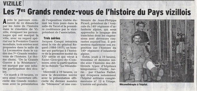 Dauphiné Libéré, Romanche & Oisans, Vizille édition du 14 mai 2018.