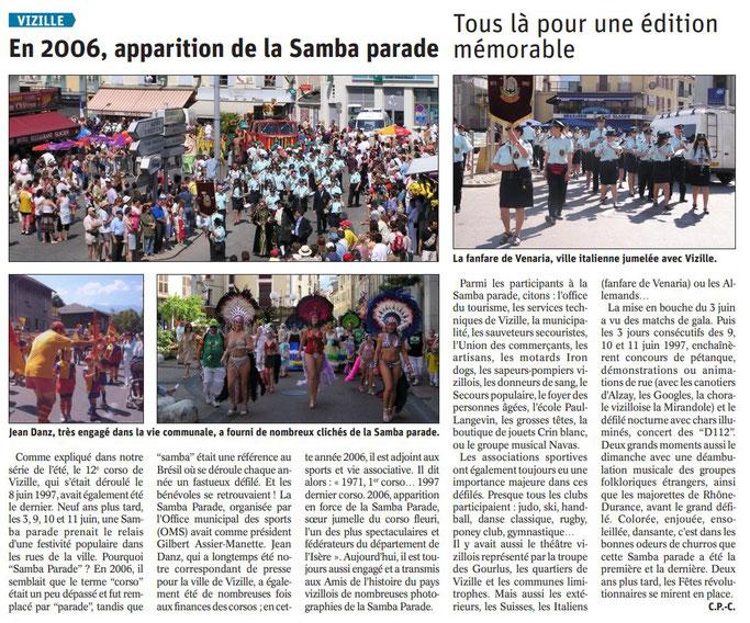 Dauphiné Libéré, Romanche & Oisans, Vizille édition du 20 août 2019. Article Claudie Picot Chambe