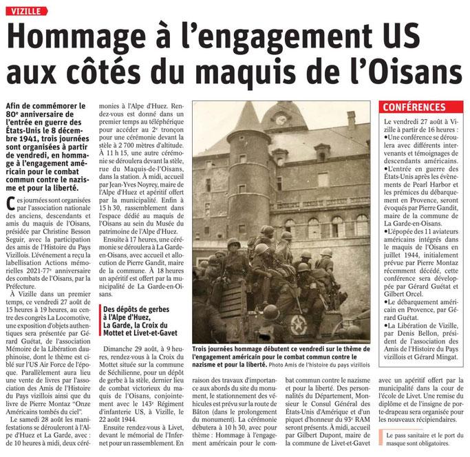 Dauphiné Libéré, Romanche-Oisans, Vizille, édition du 26 aout 2021