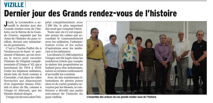 Dauphiné Libéré, Romanche & Oisans, Vizille édition du 21 mai 2018.