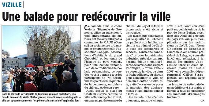 Dauphiné Libéré, Romanche & Oisans, Vizille édition du 13 mars 2017, article et photo Chrystelle Pernet