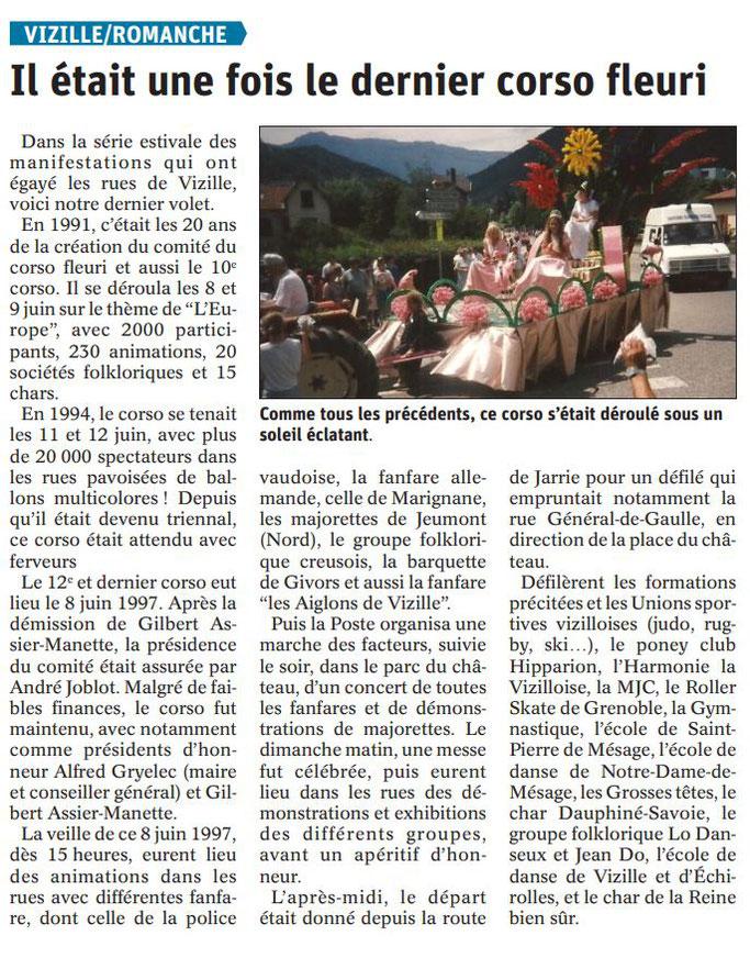 Dauphiné Libéré, Romanche & Oisans, Vizille édition du 15 août  2019.