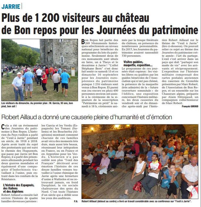 Dauphiné Libéré, Romanche & Oisans, Jarrie édition du 19 septembre  2018. photo et article François Giroud