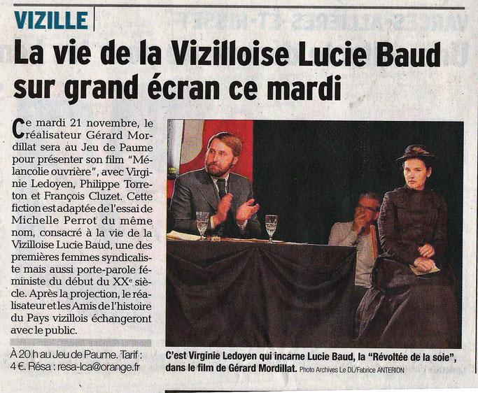 Dauphiné Libéré, Romanche & Oisans, Vizille édition du 18 novembre 2017. Photo Archives Le DL/ Fabrice Anterion