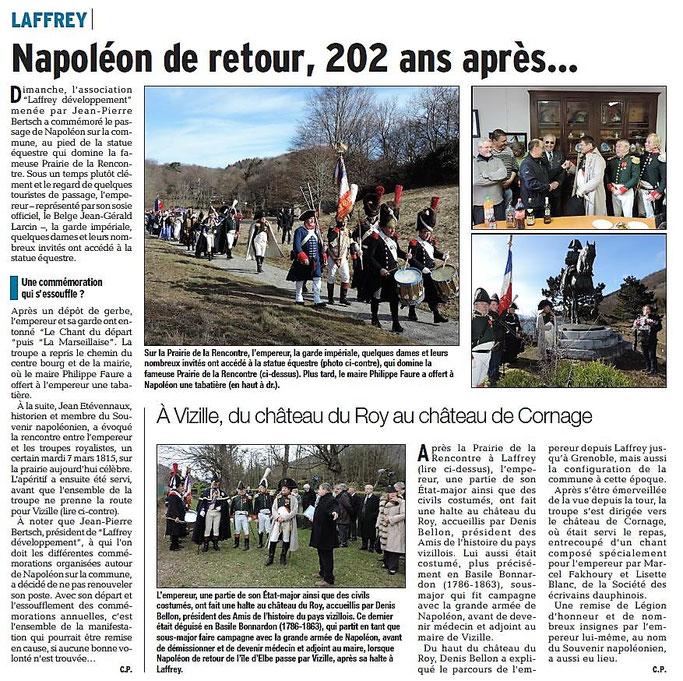 Dauphiné Libéré, Romanche & Oisans, Laffrey, édition du 08 mars 2017, article et photo Chrystelle Pernet