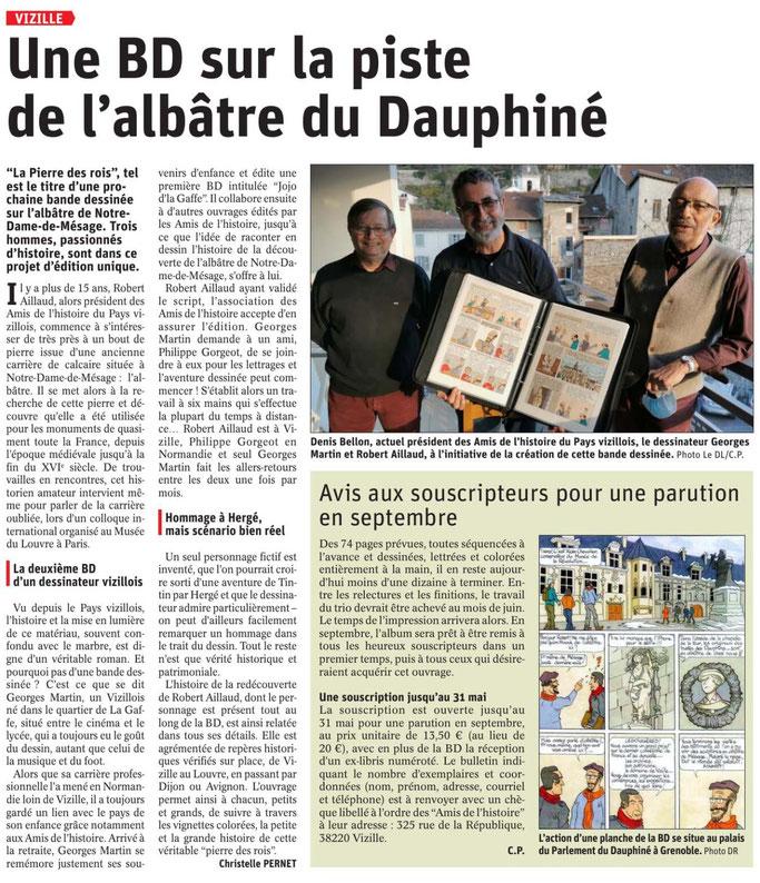 Dauphiné Libéré, Romanche Oisans,Vizille, édition du 4 avril 2021