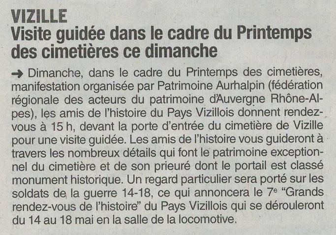 Dauphiné Libéré, Romanche & Oisans, Vizille édition du 11 mai 2018.