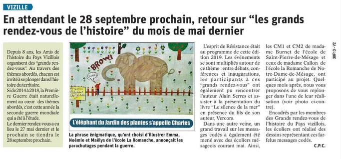 Dauphiné Libéré, Romanche & Oisans, Vizille édition du 25 juillet 2019. Article Claudie Picot Chambe