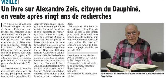 Dauphiné Libéré, Romanche & Oisans, Vizille édition du 14 décembre 2018.
