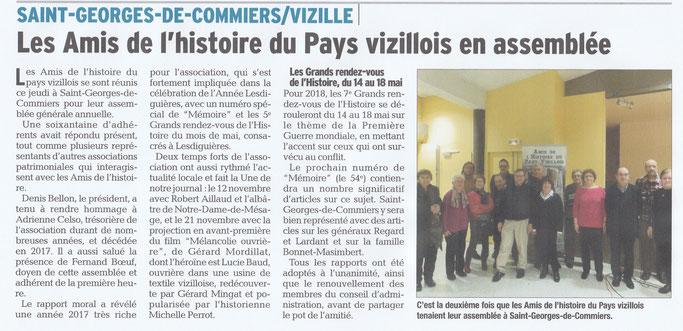 Dauphiné Libéré, Romanche & Oisans, Saint-Georges-de-Commiers/Vizille édition du 11 février 2018.