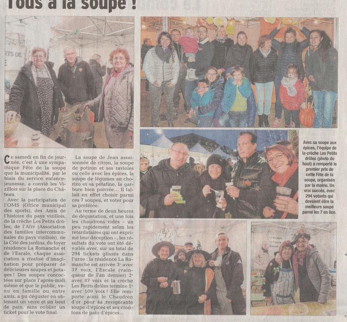 Dauphiné Libéré, Romanche & Oisans, Vizille édition du 28 octobre 2017.