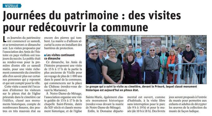 Dauphiné Libéré, Romanche & Oisans, Vizille édition du 22 septembre 2019, article et photo Magali Pierrard