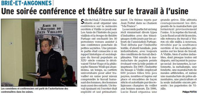 Dauphiné Libéré, Isère Sud, Brié et Angonnes, édition du 27 novembre 2016 - Article et photo  Philippe Poitou