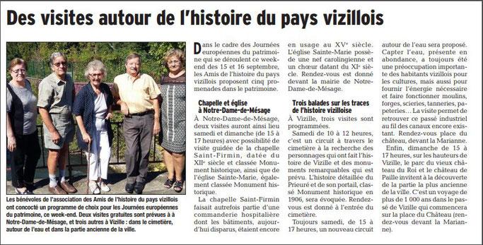 Dauphiné Libéré, Romanche & Oisans, Vizille édition du 14 septembre 2018.