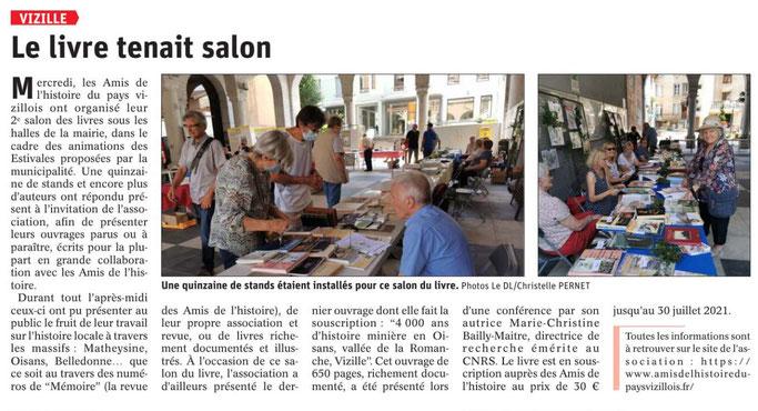 Dauphiné Libéré, Romanche-Oisans, Vizille, édition du 24 juillet 2021 - article et photo Chrystel Pernet
