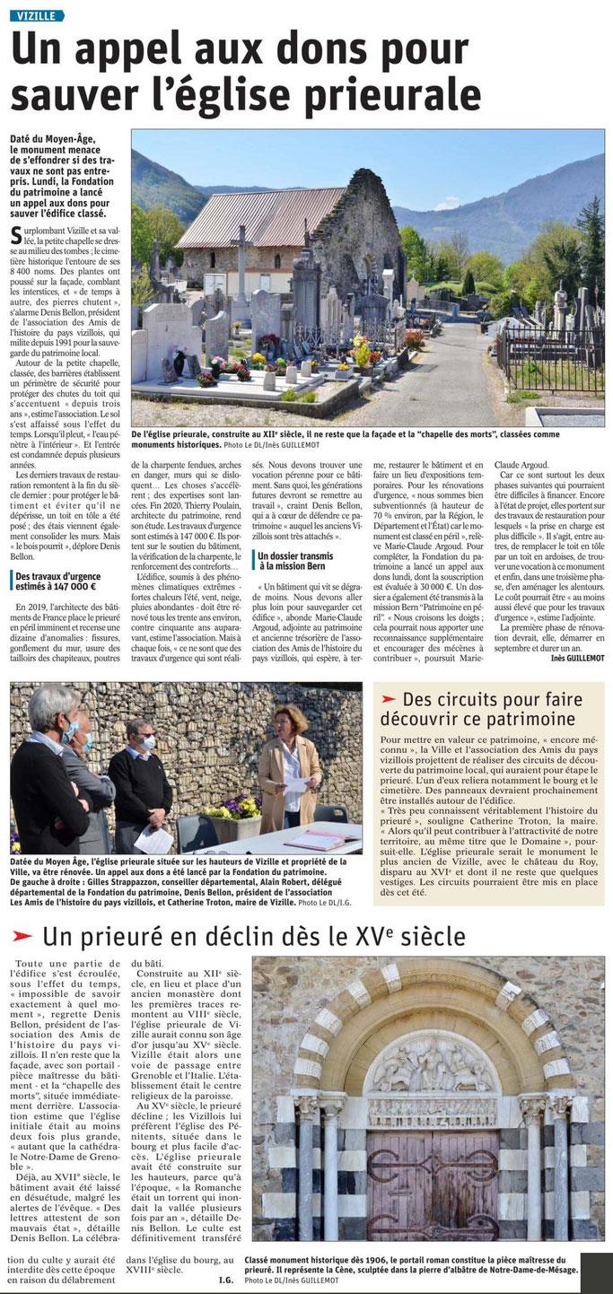 Dauphiné Libéré, Isère, Vizille, édition du 26 juillet 2021, article et photo Inès Guillemot