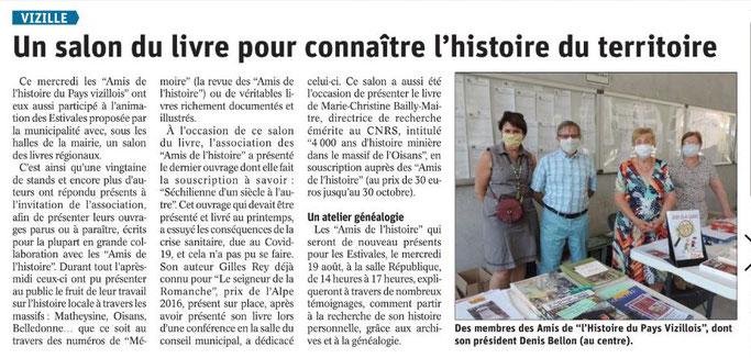 Dauphiné Libéré, Romanche Oisans,Vizille, édition du 10 août 2020