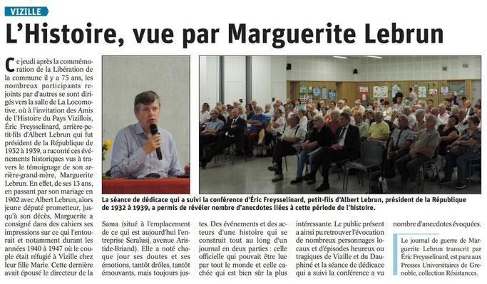 Dauphiné Libéré, Romanche & Oisans, Vizille, édition du 25 août 2019.