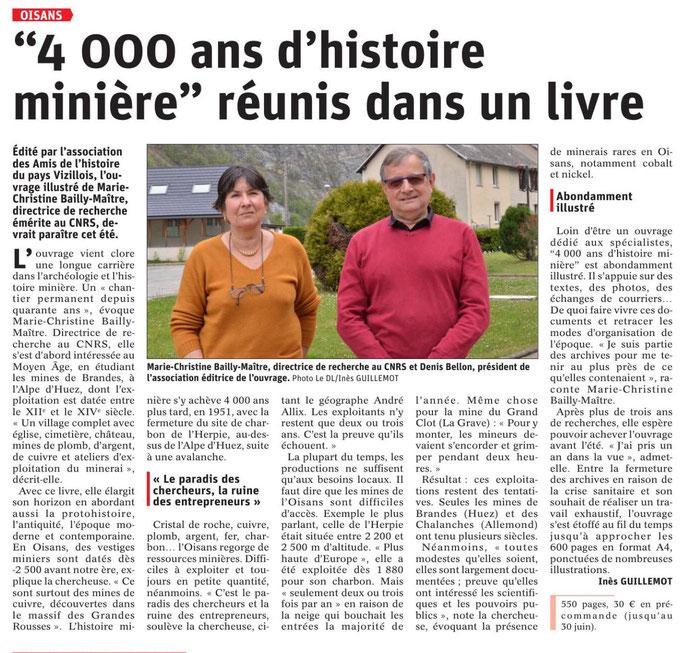 Dauphiné Libéré, Romanche Oisans, Vizille, édition du 6 mai 2021, article et photo Inès Guillemot